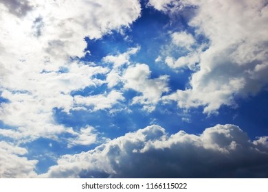 Cloud formation, background with blue sky and cirrus clouds. Cirrus fibratus, cirrus clouds in Latin language. Upper atmosphere, troposphere. The harbinger of atmosphere occlusion fronts