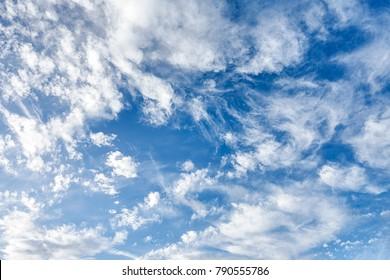 Cloud formations on a blue windy sky in autumn, in Berlin