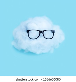 Cloud in glasses. Cloud service, Wireless communication network, IoT Internet of Things and ICT Information Communication Technology concept. Minimal design. Can be used in weather projects.