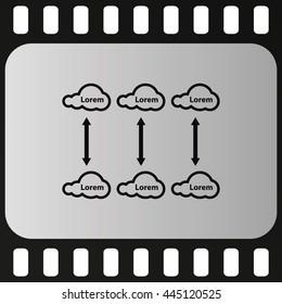 Cloud graph illustration. Flat icon.