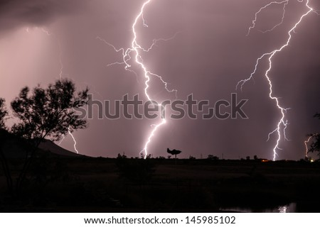 cloud ground lightning arizona usa during stock photo edit now