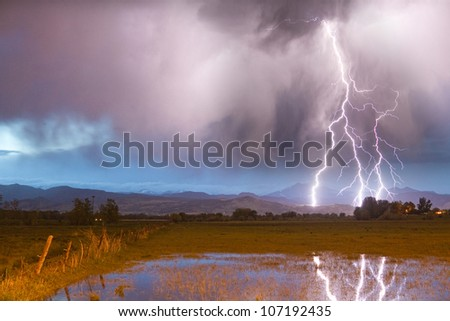 cloud ground lightning bolts striking front stock photo edit now