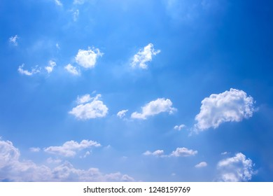 Cloud groups patterns and reflection from sun with  mild wind on vivid blue sky background in summer day