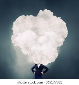 Cloud headed woman