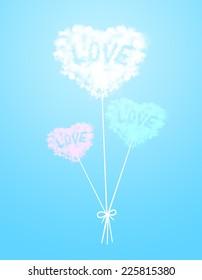 Cloud heart shape balloons on blue background