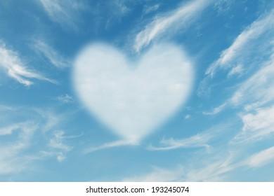 Cloud heart shape with blue sky