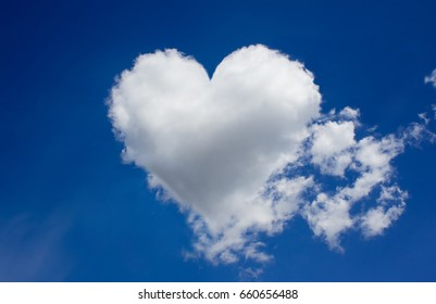 cloud with heart shape in blue sky