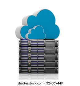 Cloud icons on dataserver, isolated on white background.