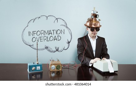 Cloud information overload text with vintage businessman at office
