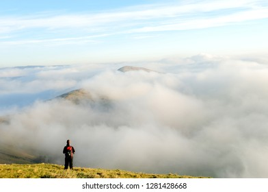 Cloud Inversion and view from Mam-Tor Derbyshire highest Peak.Mam-Tor is in High Peak area near the small village of Castleton in the English county of Derbyshire,UK.