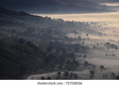 Cloud inversion at Winnats Pass at sunrise