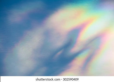 Cloud iridescence : diffraction phenomenon produce very vivid color and make cloud shine like a corona.