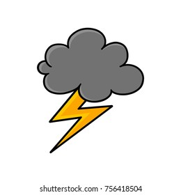 Cloud and lightning bolt icon in colors