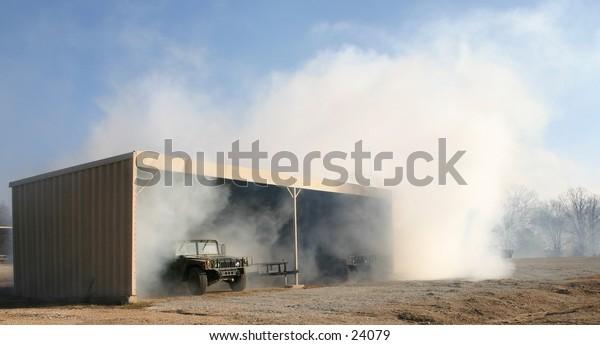 cloud made by smoke generator in garage