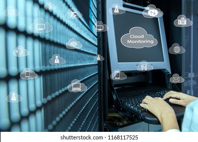 Cloud monitoring concept of network administrator using kvm switch in data center with icons of  cloud services