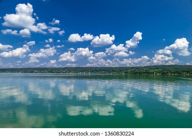 Cloud mood on a summer day at the Ammersee, Bavaria, Germany, Europe