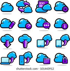 Cloud Network icon set