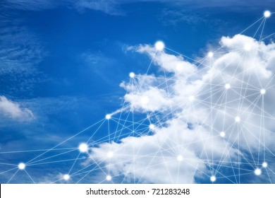 cloud network on blue sky background.