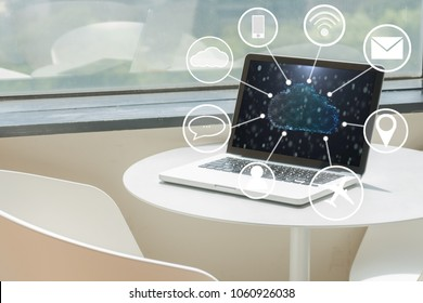 cloud on computer laptop and technology icon concept