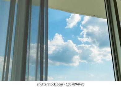 cloud on sky through the window
