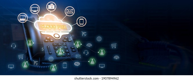 Cloud pbx concept of ip telephone device with voip services icons connectivity on double exposure of servers rack and network switch with utp cables connected in datacenter room