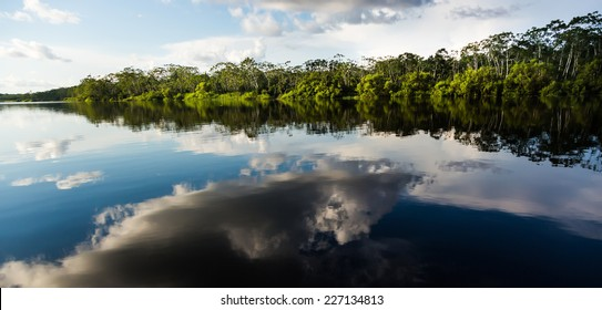 Cloud reflects over Pucate River, In Pacaya Samiria national reserve, Iquitos, Peru