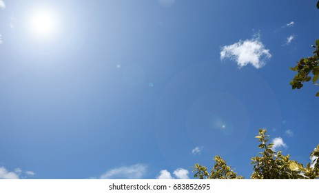 cloud scape and clear blue sky with sunspot