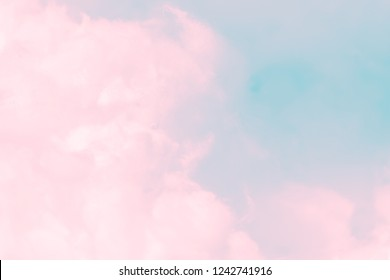 Cloud series : Colorful cotton candy. Soft fog and clouds with a pastel colored pink to skyblue gradient for background.