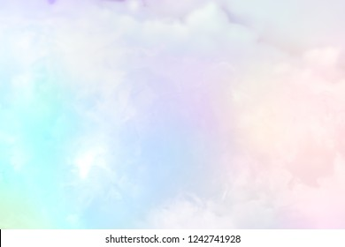 Cloud series : Colorful cotton candy. Soft fog and clouds with a pastel colored gradient for background.