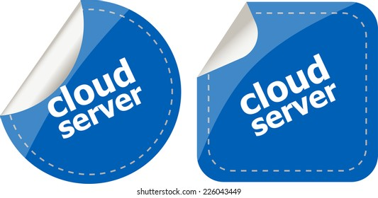 Cloud server computing concept, stickers label tag