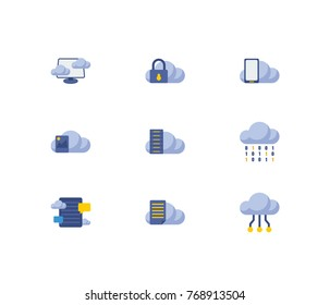 Cloud service icons set with file storage, blog storage and data storage elements. Set of cloud service icons also including communication sign for your web app logo UI design.