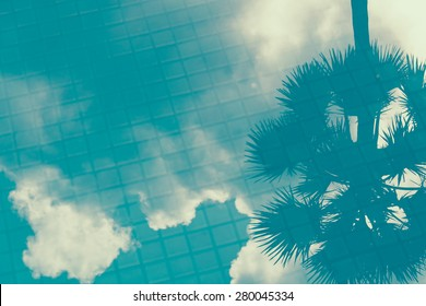 cloud shadow on pool water - soft focus with film filter