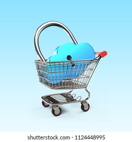 Cloud shape lock in shopping cart, isolated on white, on line shopping concept, 3D illustration.