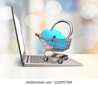 Cloud shape lock in shopping cart on the laptop and blur background, on line shopping concept.