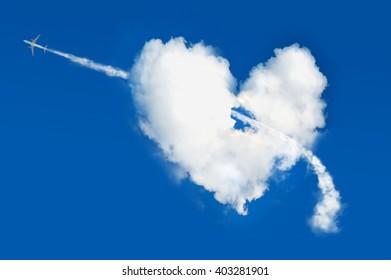 Cloud shaped heart on blue sky. Love background