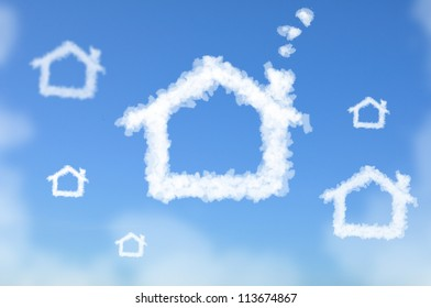 Cloud shaped as House currency sign, dreaming concept