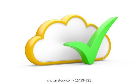 """Cloud and sign """"YES"""" on a white background"""