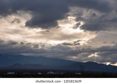 cloud sky above mountains landscape Mojave Desert town Pahrump. Nevada, USA