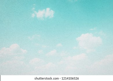 Cloud and sky with grunge paper texture background.