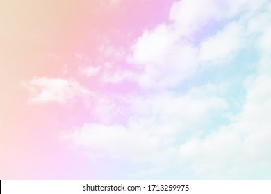 Cloud and sky with a pastel colored background and wallpaper, abstract sky background in sweet color.