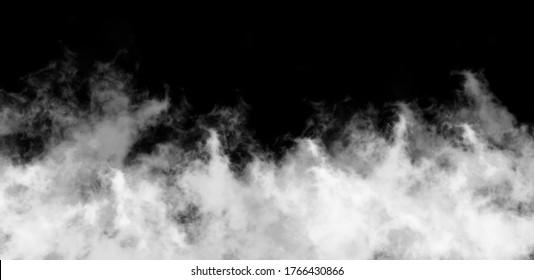 Cloud smoke fog atmosphere overlay on black background