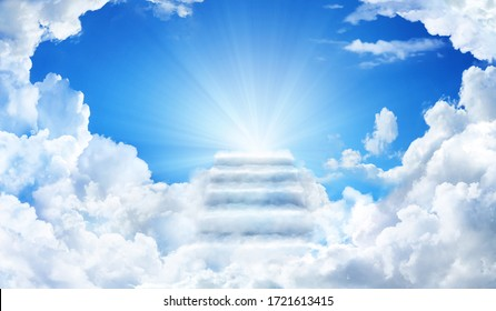 Cloud stairway to Heaven. Stairs in sky. Concept Religion background
