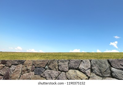 Cloud and stone wall background
