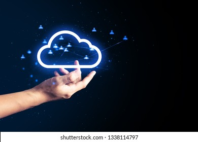 cloud storage with human hand blue abstract futuristic ai ui digital technology light internet network background 3d illustration hologram, deep learning, robotic, atom cell of science