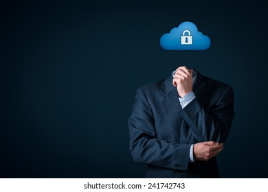 Cloud storage security concept. Safety data management specialist think about security of cloud computing data storage represented by cloud icon with padlock.