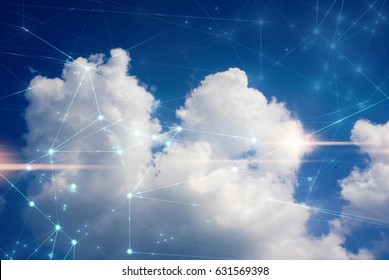 cloud storage with sky nature background in business with technology network server online digital data ai concept, signal of wifi internet telecom