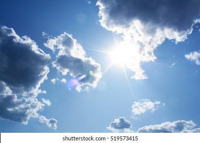 cloud and sun in blue sky