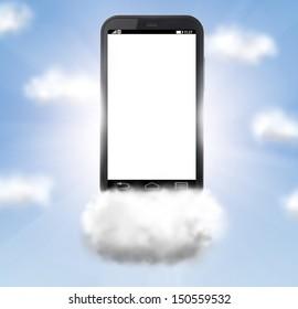 cloud technologies, modern smartphone in skies