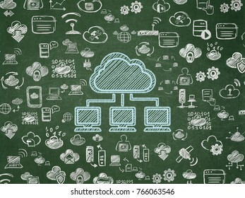 Cloud technology concept: Chalk Blue Cloud Network icon on School board background with  Hand Drawn Cloud Technology Icons, School Board