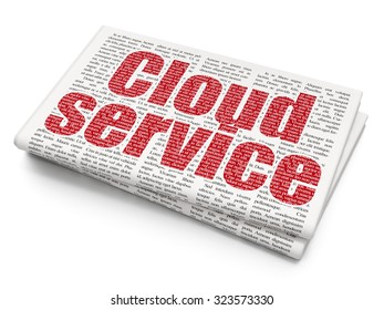 Cloud technology concept: Pixelated red text Cloud Service on Newspaper background